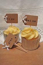 Luggage tag wedding cupcake picks toppers shabby chic rustic vintage x10
