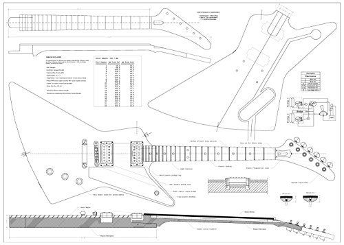 Set Of 4 Electric Guitar Plans Gibson Flying V Gibson Explorer Gibson Les Paul And Ibanez Jem777 Gibson Explorer Gibson Flying V Gibson Electric Guitar
