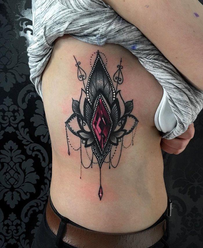 ornate lotus gemstone pinterest lotus tattoo and side tattoos. Black Bedroom Furniture Sets. Home Design Ideas