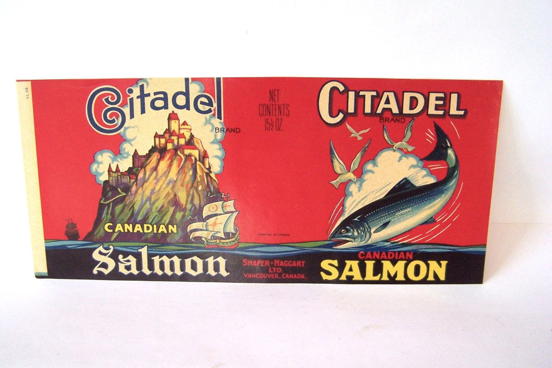 Vintage CITADEL SALMON Label, Vancouver Canada, Mint
