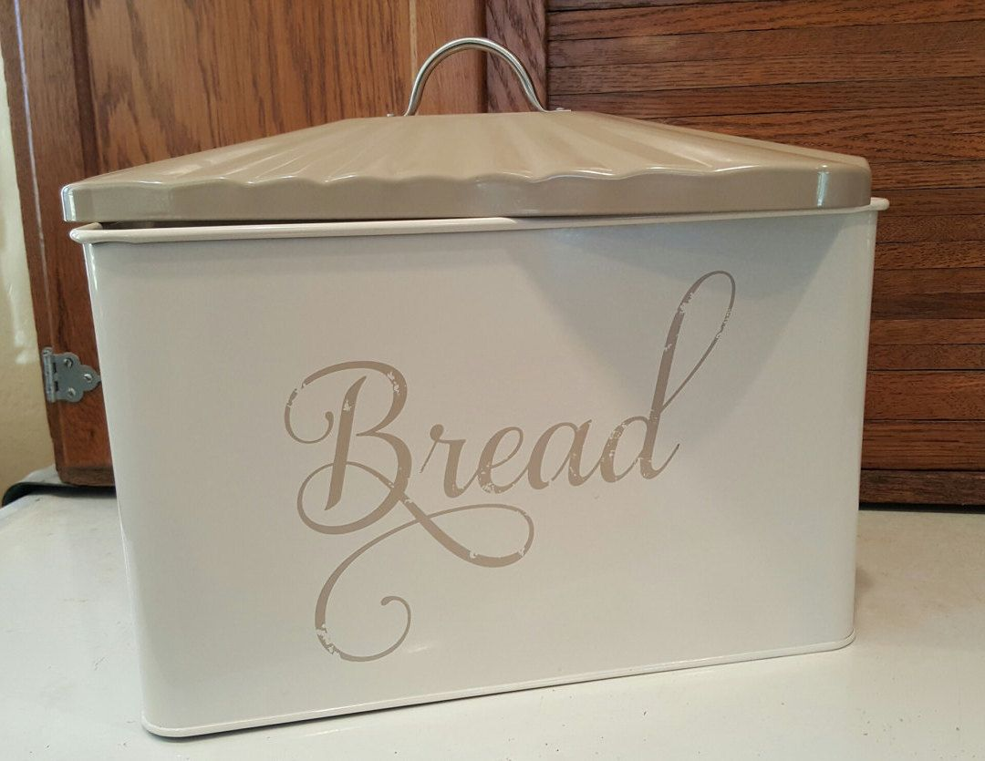 Bread box canister modern farmhouse kitchen decor tan