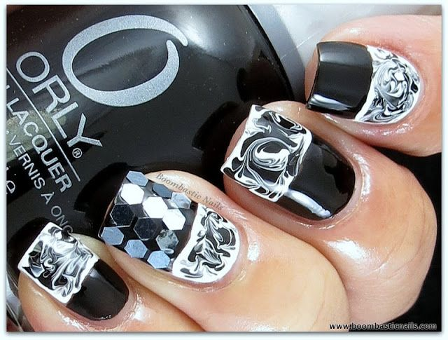 Black And White Dry Water Marble Nails Pinterest