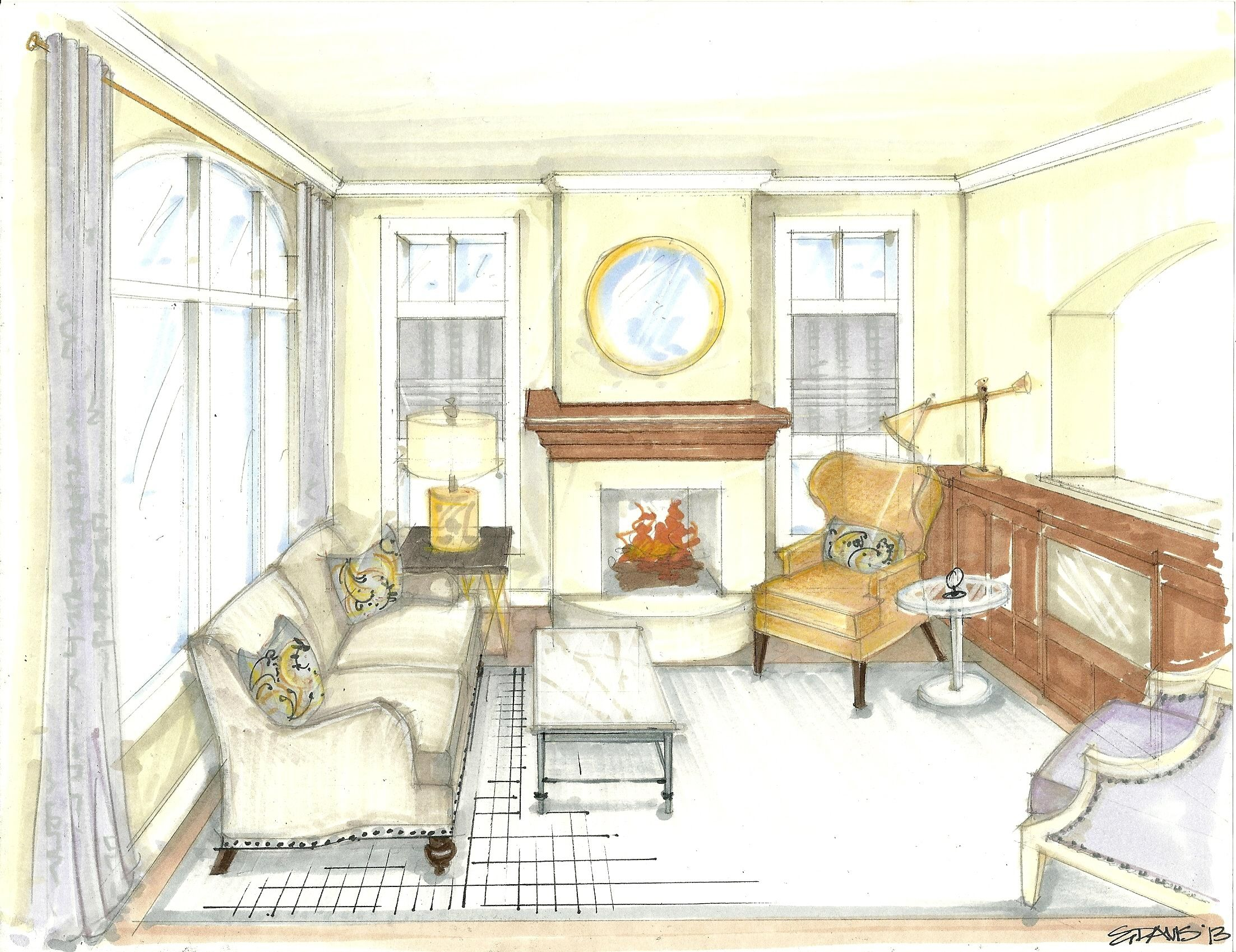 Rendered Perspective Drawing Living Room Metal Scheme Simple