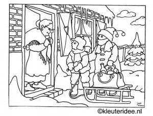 kleurplaat oude mensen helpen in de winter kleuteridee nl