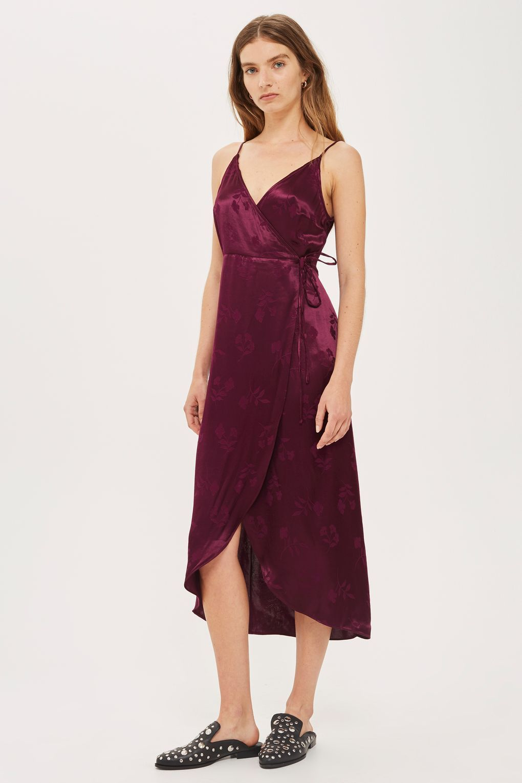 0e66bddd151d0 Jacquard Plunge Neck Wrap Dress - Dresses - Clothing - Topshop USA