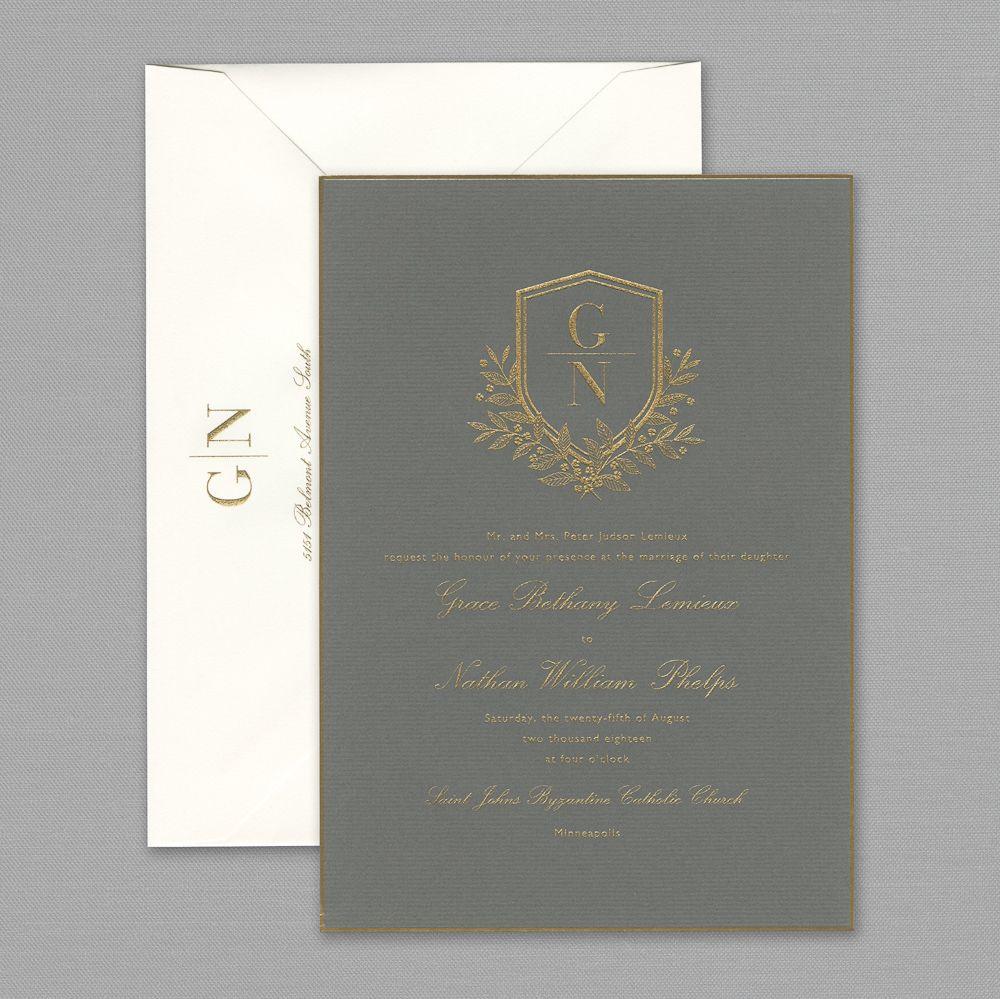 Vera Wang Engraved Gold Bordered Light Grey Wedding Invitation