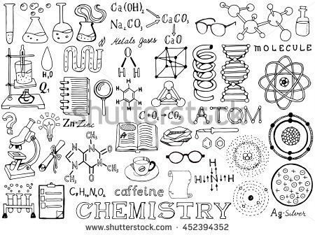 Chemistry Science Doodle Handwriting Elements. Science and