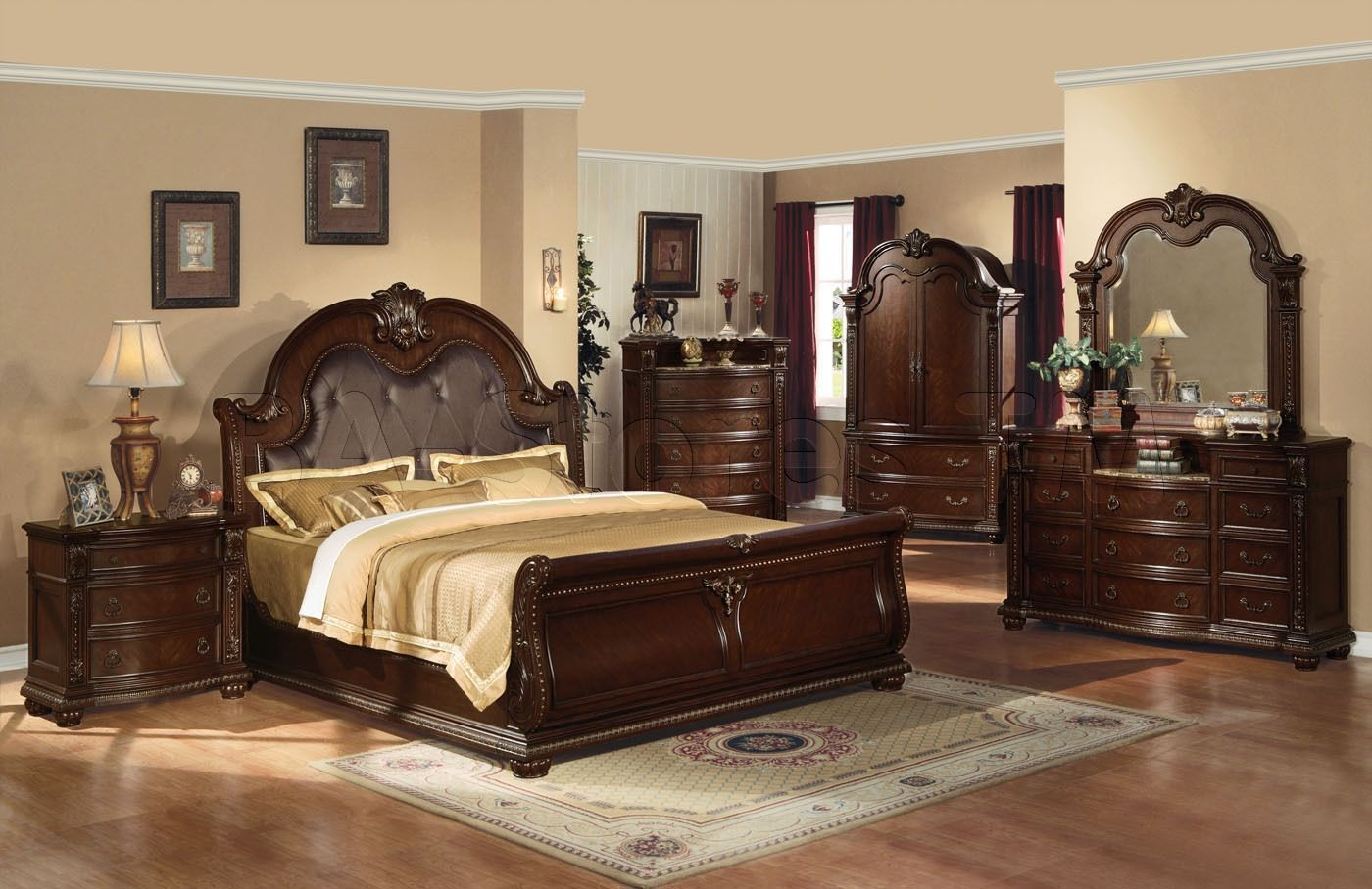 King Bedroom Set With Armoire Bedroomsetwitharmoire Kingbedroomsets King Bedroom Sets Wood Bedroom Sets Traditional Bedroom Furniture