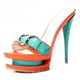 Mixing Color Metal and Leather Button Super-high Platform High Heel Slipper Orange $49 at shopswagstore.com