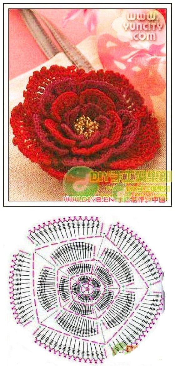 Elegant Crochet Rose Pattern Free Diagram Flowers Pinterest