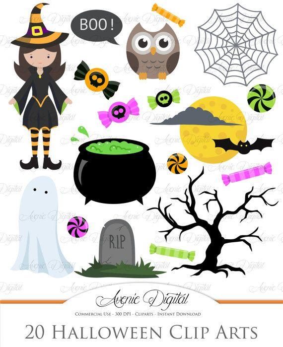 Cute Halloween Clipart Scrapbooking Printables Holiday Set Etsy Halloween Clipart Halloween Paper Crafts Halloween Clips