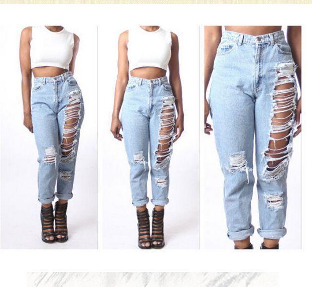 6888e2602b57e Spring Summer Loose High Waist Jeans Woman 2015 Casual Hole Ripped Jeans  Feminina Boyfriend Jeans For Women Plus Size (Mainland))