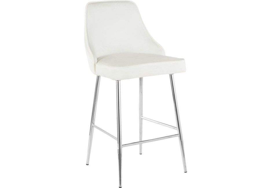 Mairie White Plush Counter Height Stool Set Of 2 Counter Height