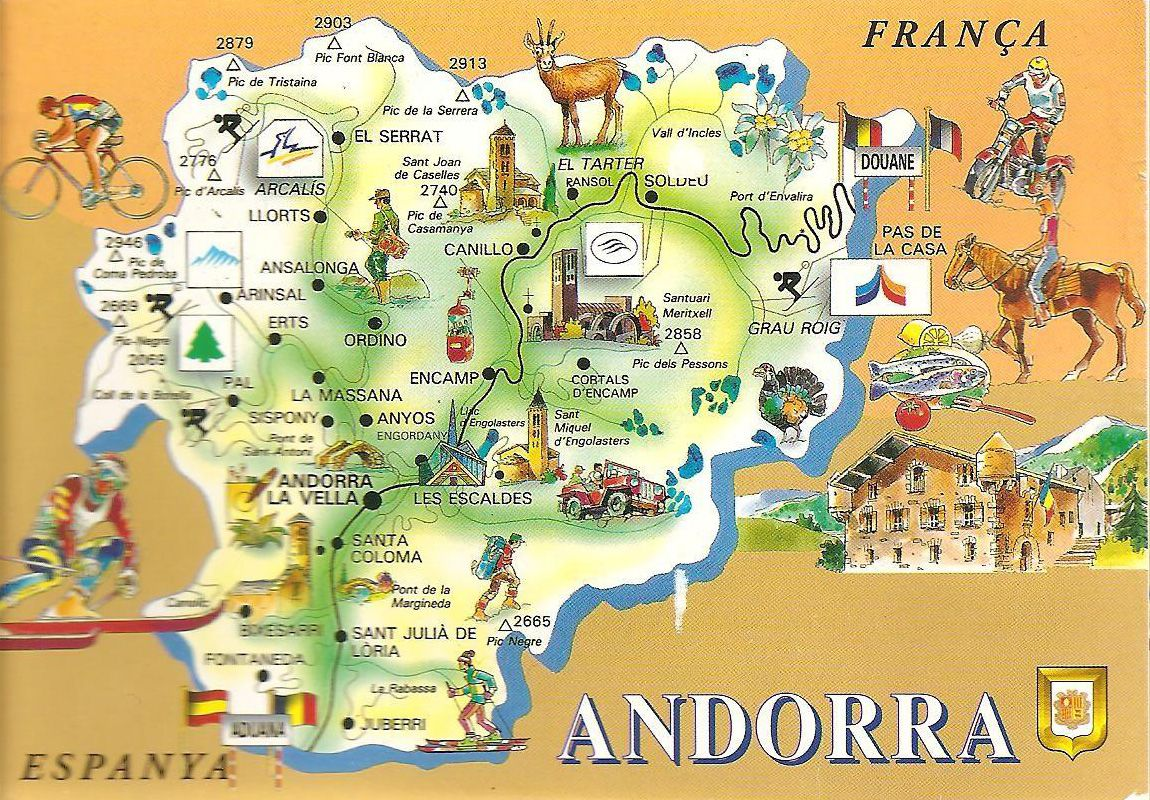 Large detailed Andorra tourist map. Andorra large detailed tourist ...