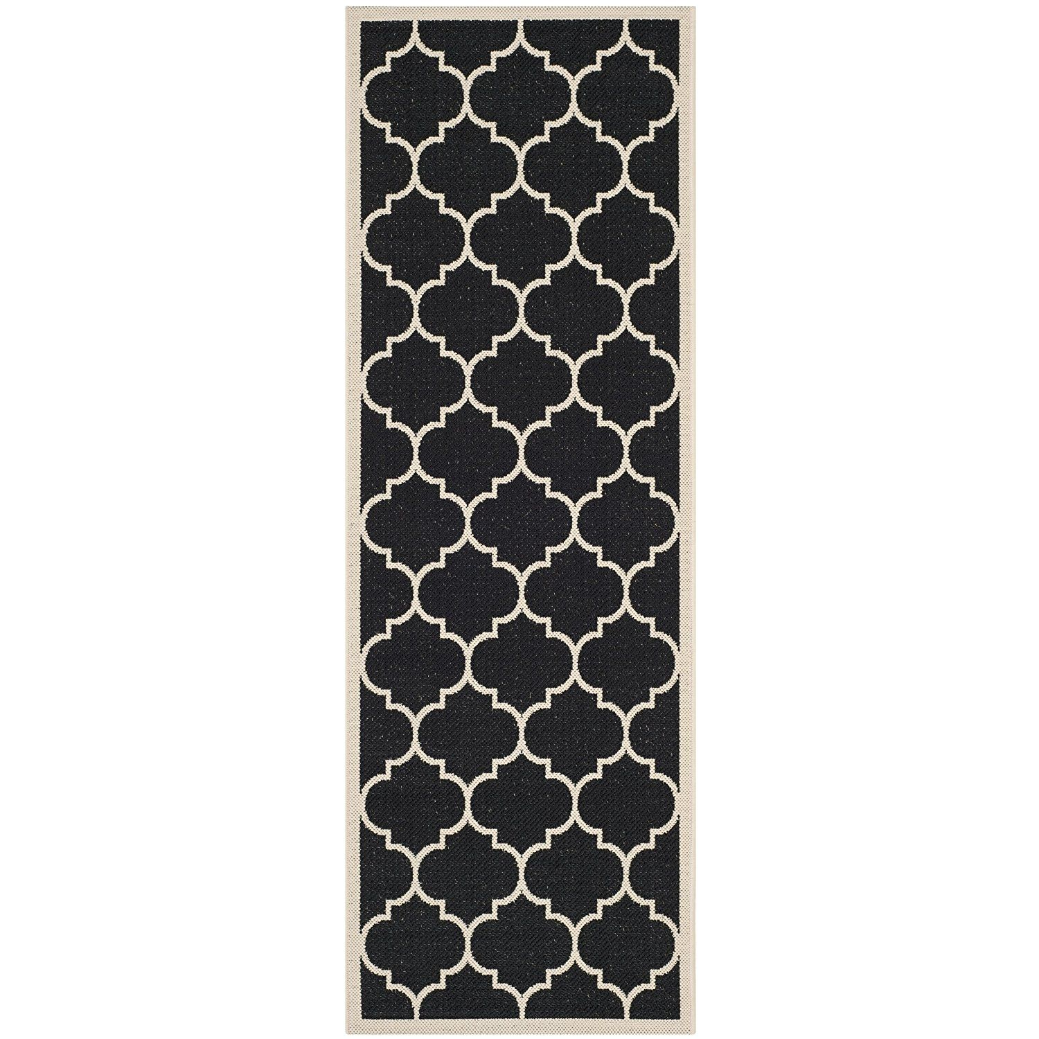 Amazon Com Safavieh Courtyard Collection Cy6914 266 Black And Beige Indoor X2f Outdoor Runner 2 Feet Indoor Outdoor Area Rugs Outdoor Runner Rug Patio Rugs