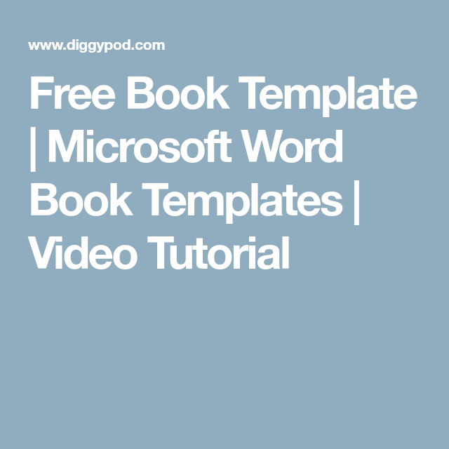 Free Book Template Microsoft Word Book Templates Video Tutorial