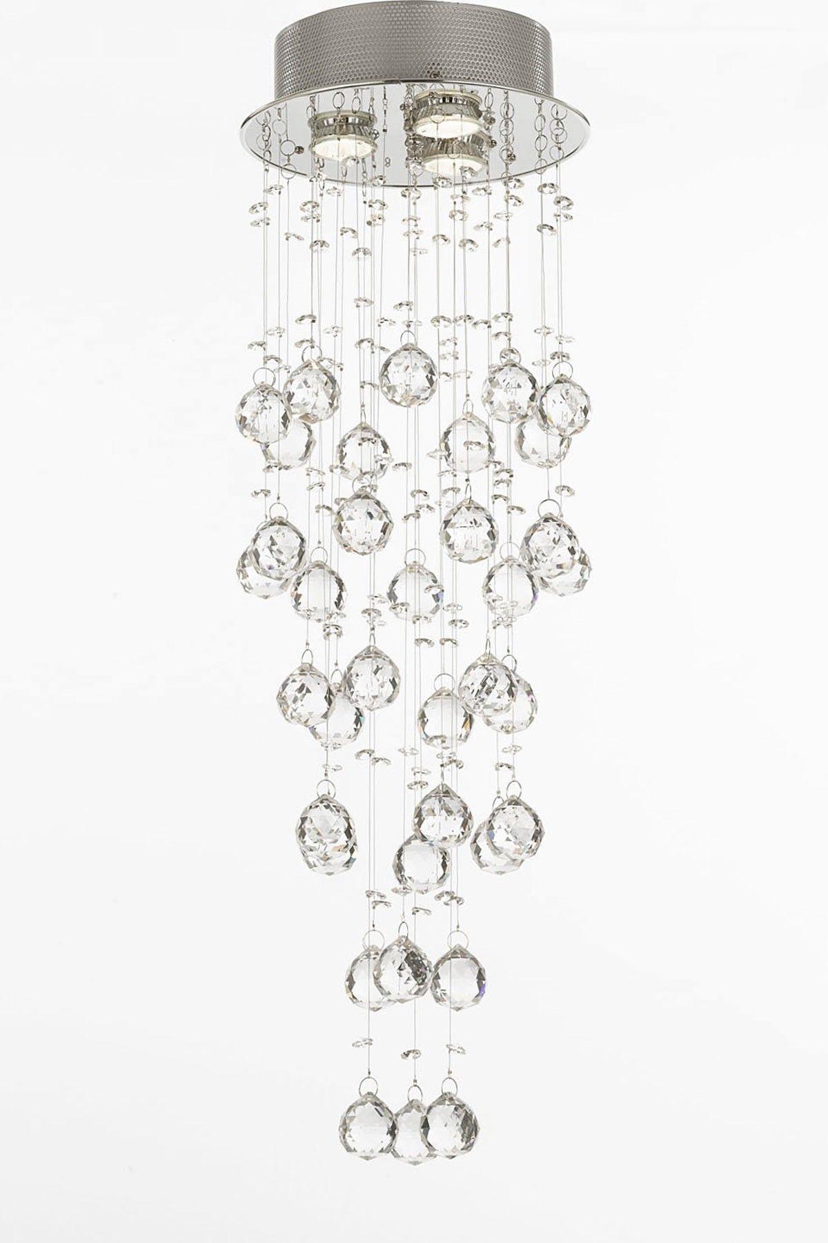 Modern crystal raindrop chandelier light fixture for bathroom
