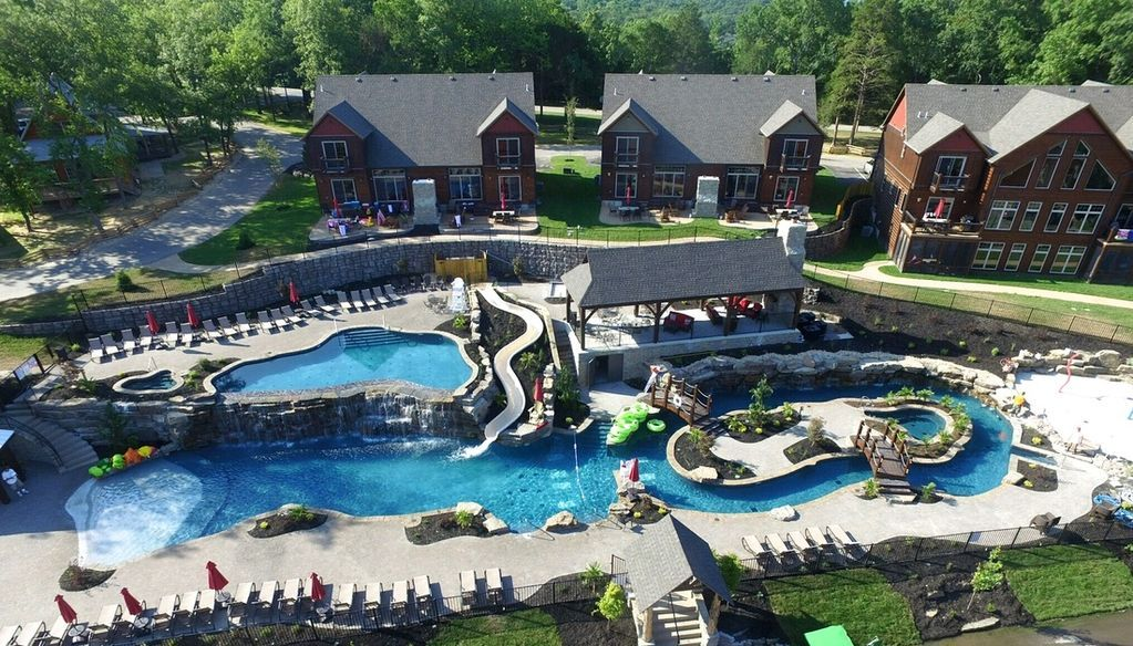 Aerial drone picture of the resort waterpark Family