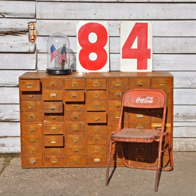 Objects of Design 104 Vintage Wooden Filing Cabinet Drawers