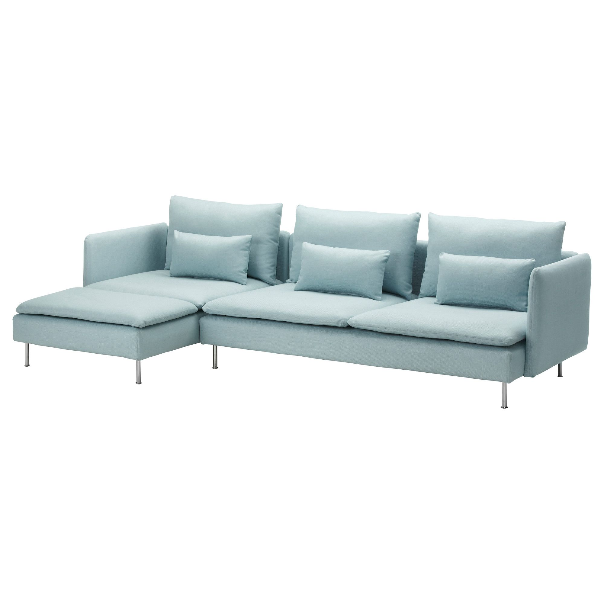 Removable covers SÖDERHAMN Sofa and chaise lounge - Isefall light turquoise - IKEA  sc 1 st  Pinterest : ikea sofa chaise lounge - Sectionals, Sofas & Couches
