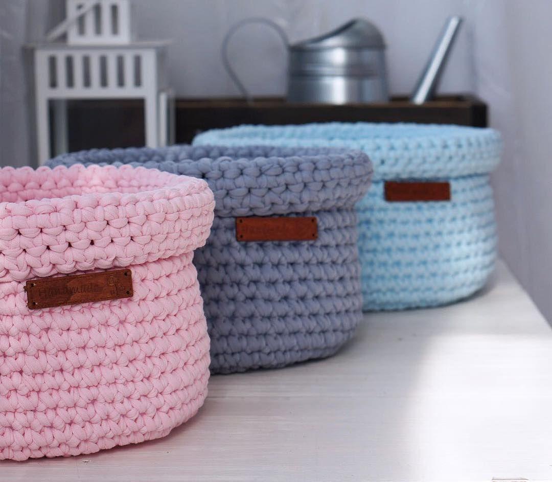 Crochet Baskets вязаные корзинки из трикотажной пряжи