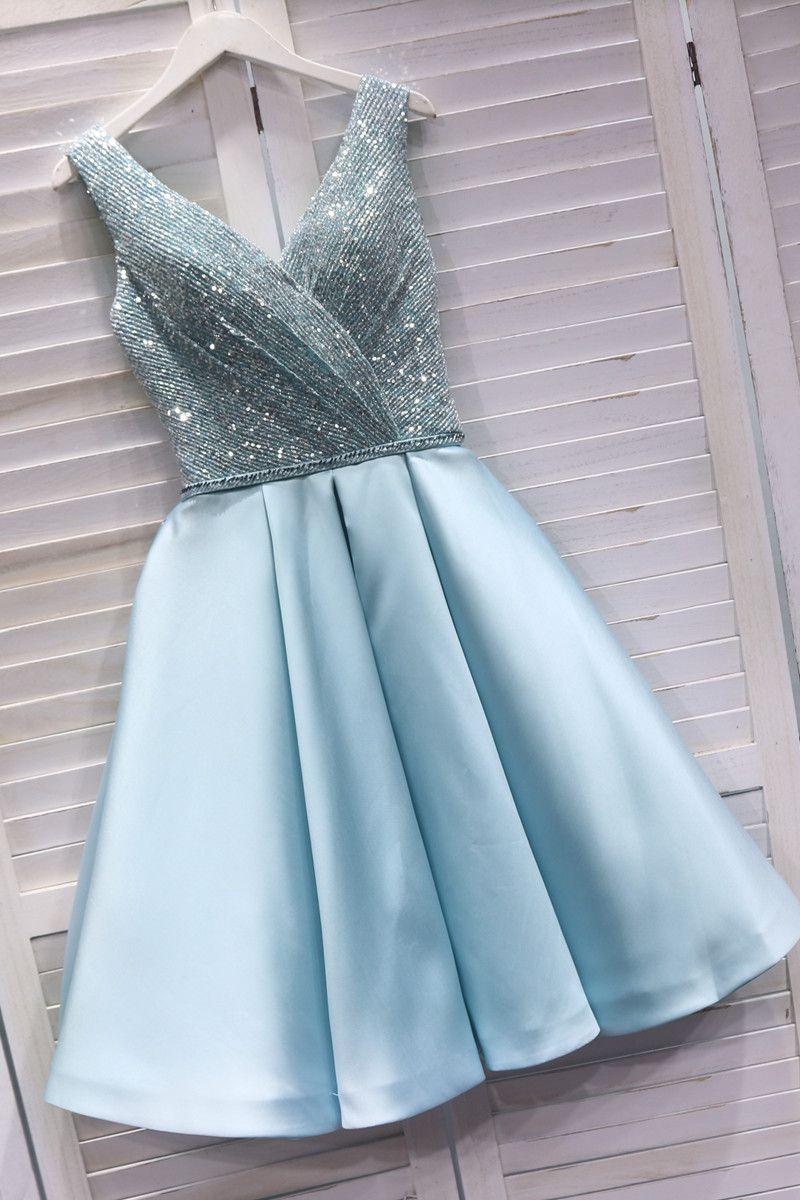 Cute Sequins Light Blue Short Prom Dress Short Party Dress 2020 Short Prom Dress Homecoming Dresses Blue Homecoming Dresses [ 1200 x 800 Pixel ]