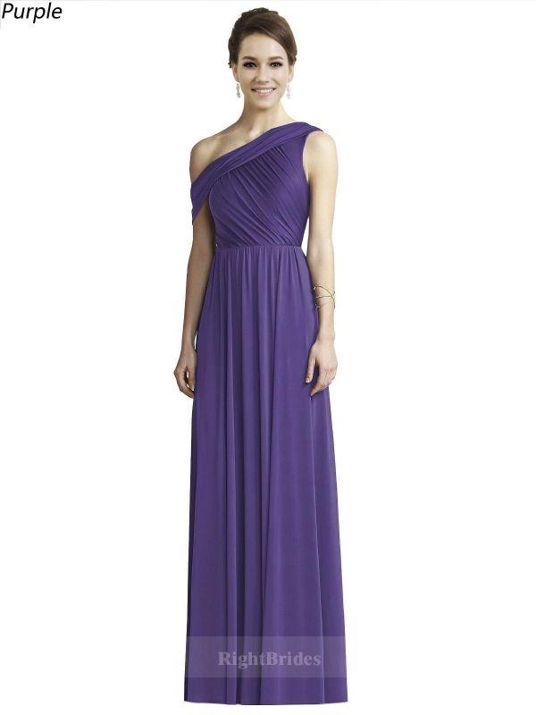 Discount One Shoulder Long Chiffon Purple Sleeveless 2018 Bridesmaid ...