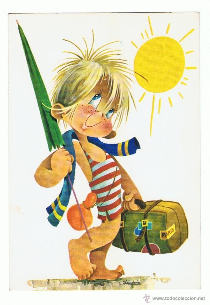 Postal Dibujo De Nina En La Playa Rfª 7473 31 D Dibujos Para Ninos Arte Caprichoso Ilustracion Clasica