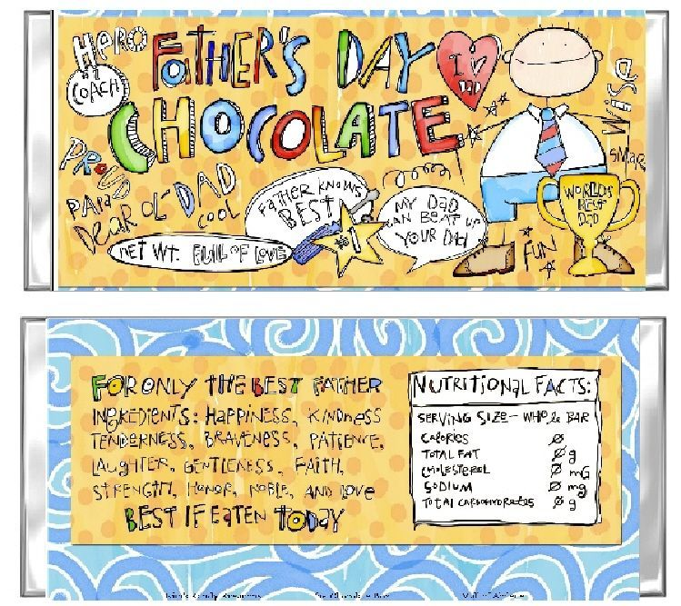 Fathers Day Chocolate Candy Bar Card Favor