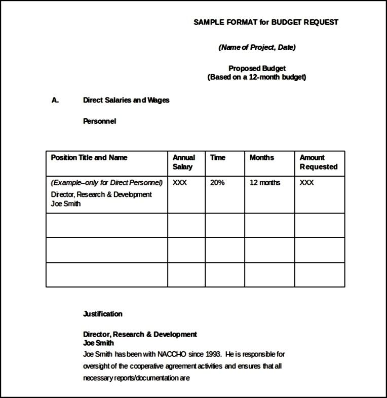 Sample Software Budget Request Form Word Format - Sample FORM 06