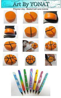 Free Tutorial Polymer Clay - basket-ball-cane-tutorial   por Yonat Dascalu