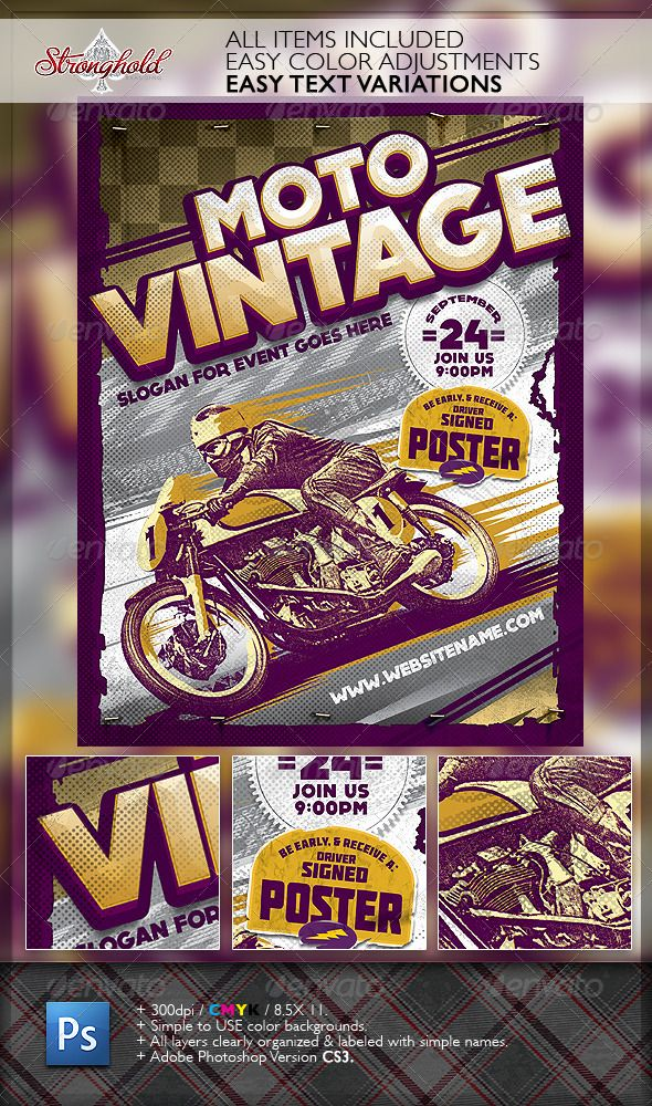 motorcycle event flyer templates