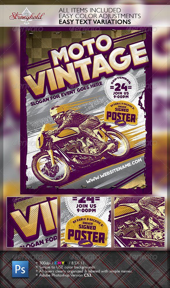 Vintage Motorcycle Race Poster Template Vintage Flyers Pinterest