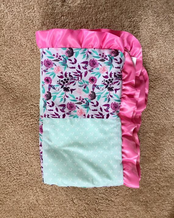 This Is A Floral Satin Ruffle Edge Baby Blanket The Front Squares Are Calico Keepsake Cotton Fabric Made F Ribbon Baby Blanket Baby Blanket Minky Baby Blanket