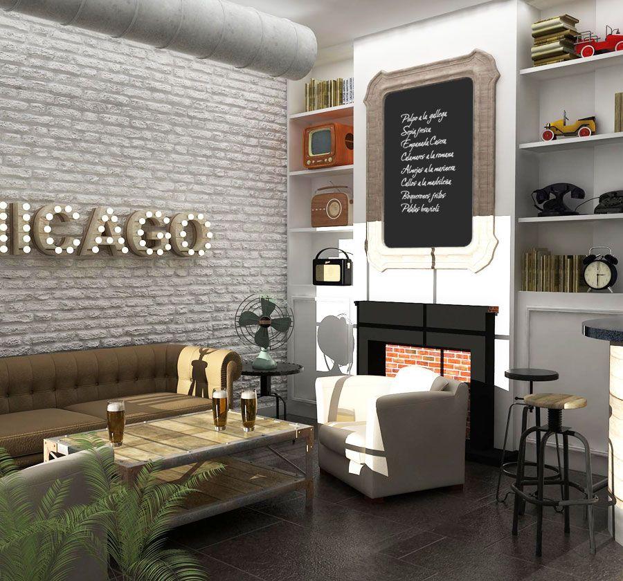 Proyecto de interiorismo bar vintage 150 m2 madrid infograf as 3d pinterest estudio de - Estudio diseno madrid ...