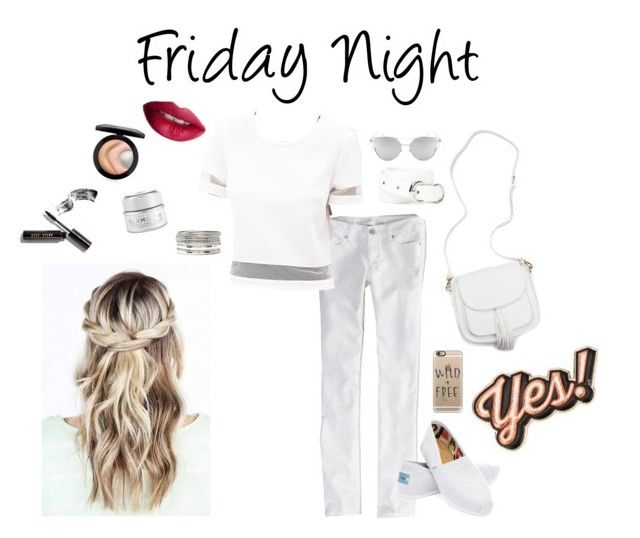 """""""Friday Night"""" by hchang704 ❤ liked on Polyvore featuring American Eagle Outfitters, Forever 21, TOMS, Chicnova Fashion, Casetify, Anya Hindmarch, Bobbi Brown Cosmetics, MAC Cosmetics, GlamGlow and TheBalm"""
