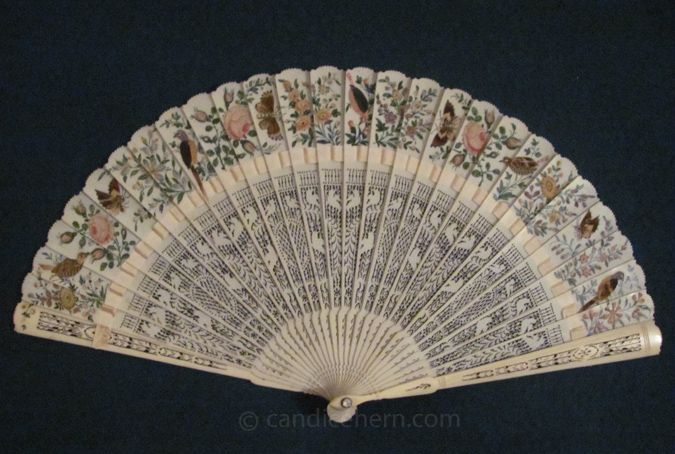 Ivory Fan with Bird Decoration, 1810-15