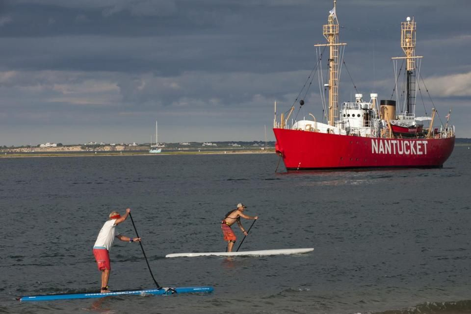 Stand-up paddle boarders on Nantucket