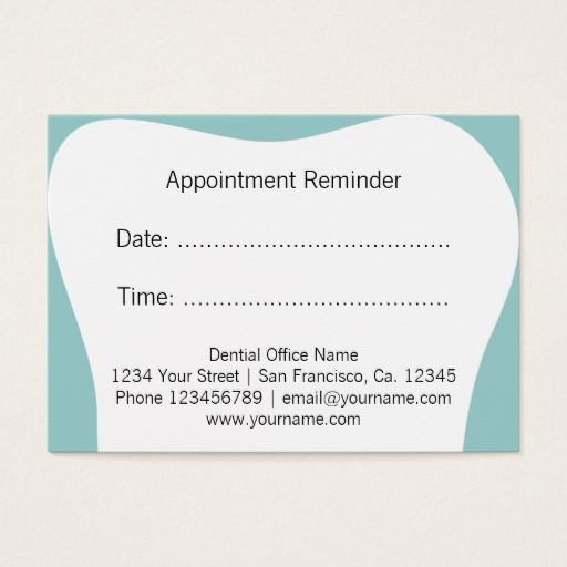 Dentist appointment reminder cards dental office Dentist - sample appointment card template