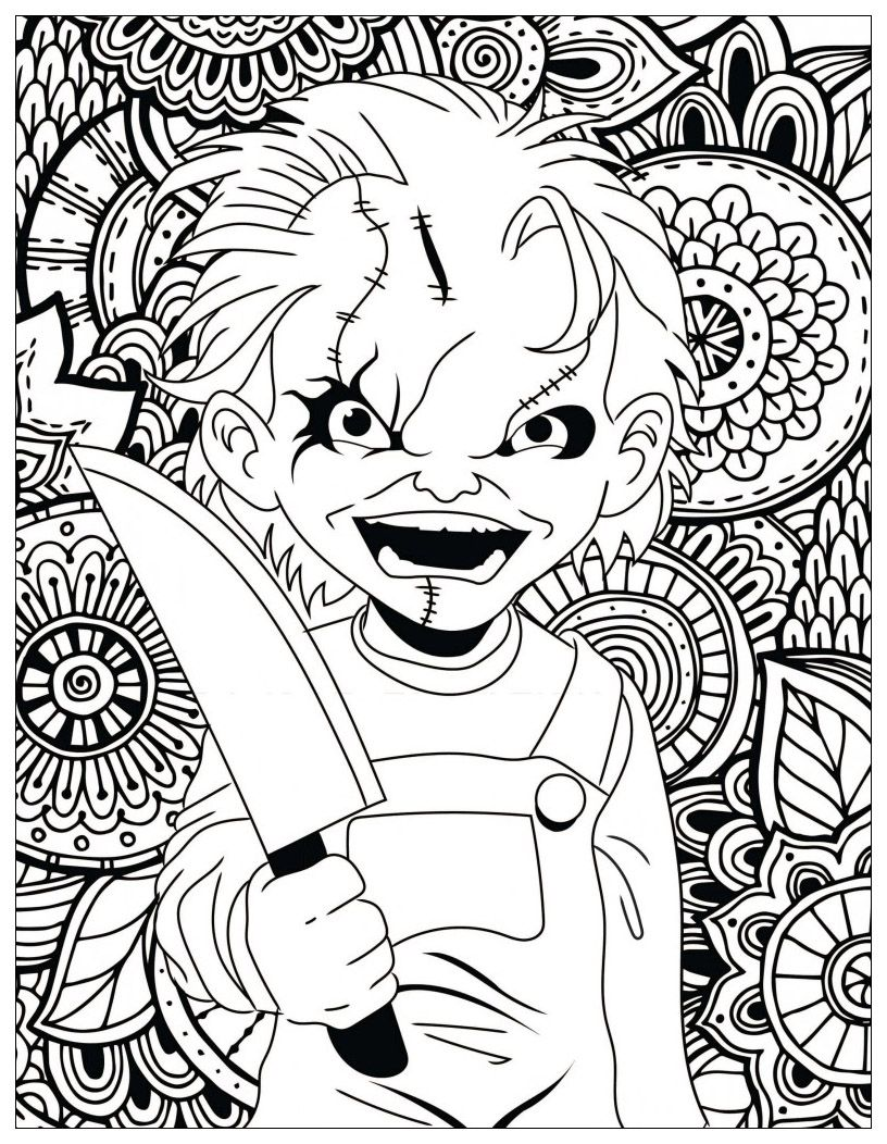 Chucky Coloring Pages Halloween Coloring Pages Printable Skull Coloring Pages Halloween Coloring