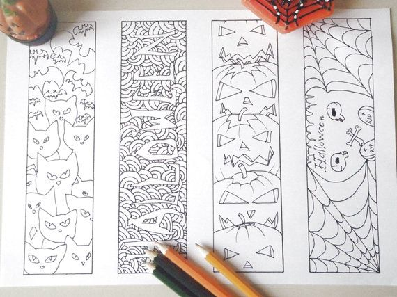 Halloween coloring bookmark adult kids page markers printable gift ...