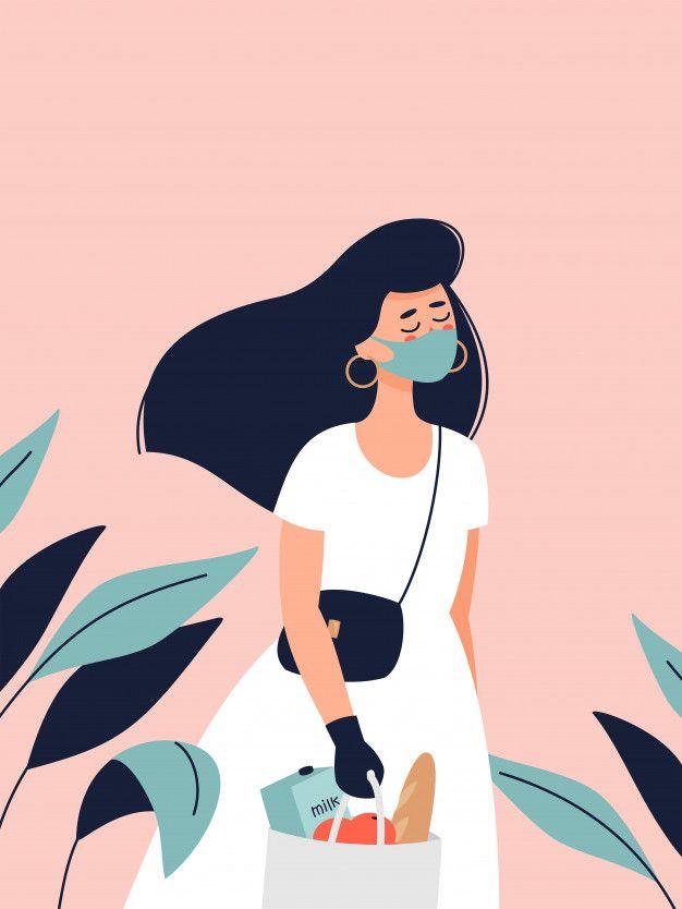 Mujer con un vestido en máscara médica, ...   Premium ...