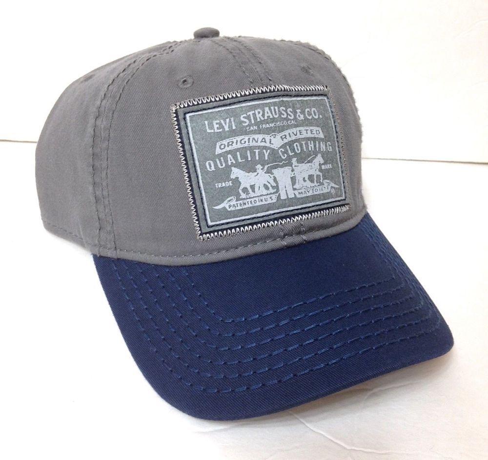 2c0c1440e new$28 LEVI STRAUSS & CO HAT Gray&Navy Blue Company Patch Logo Dad ...