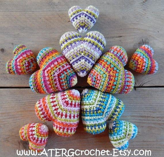 Ganchillo patrón corazón mini & maxi por por ATERGcrochet en Etsy