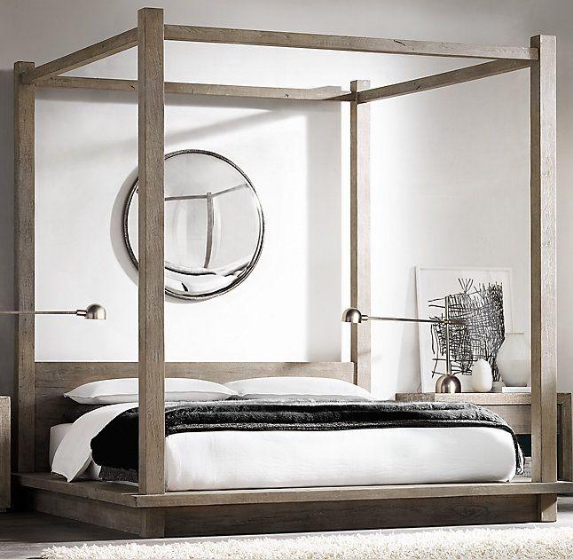 Best Reclaimed Russian Oak Canopy Bed Bed Platform Canopy 400 x 300