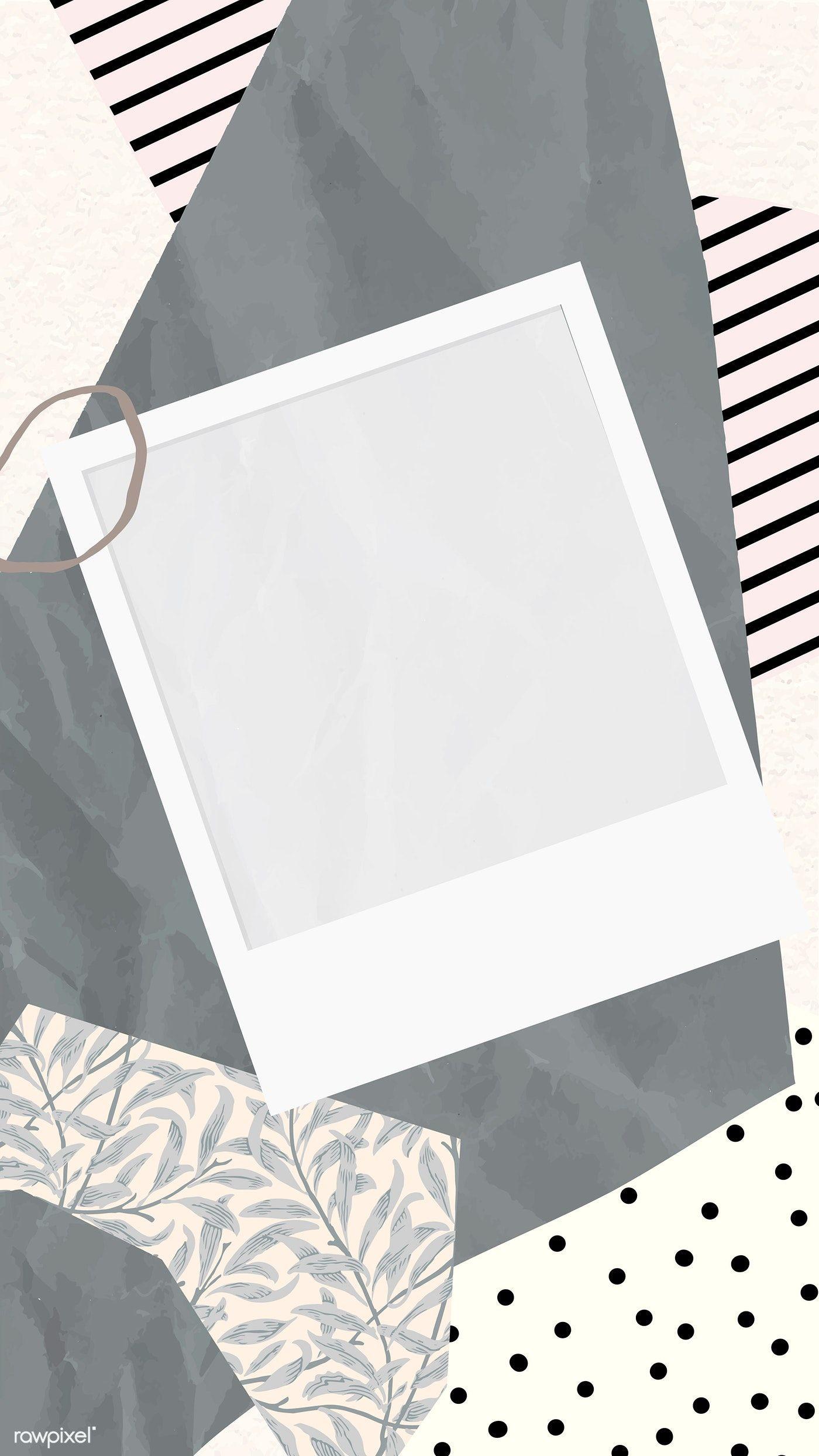 Download Premium Vector Of Blank Picture Frame On Scrapped Papers Pattern Bingkai Foto Kolase Foto Pengeditan Foto