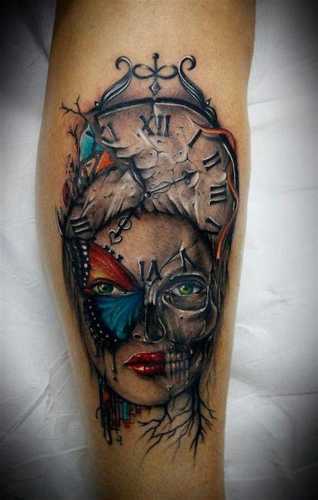 Mujer Paso Del Tiempo Tattoo Tatuajes Tatoo Y Arte Corporal