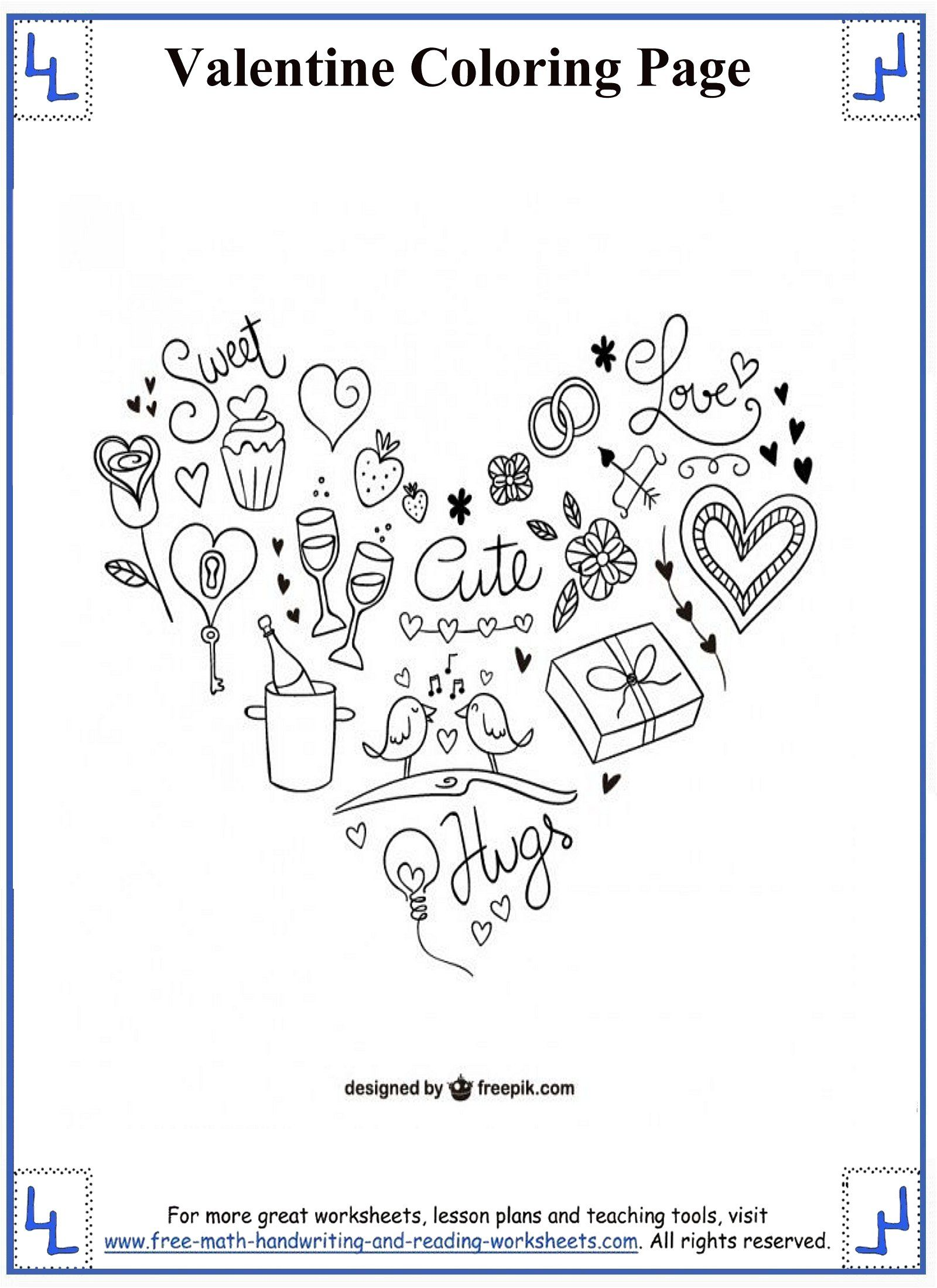 Valentines Day Coloring Pages   Valentine math worksheet ...