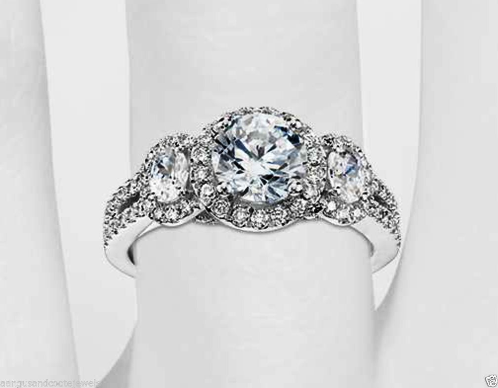 3 Stone Round Cut Moissanite Engagement Wedding Ring In Solid 14k