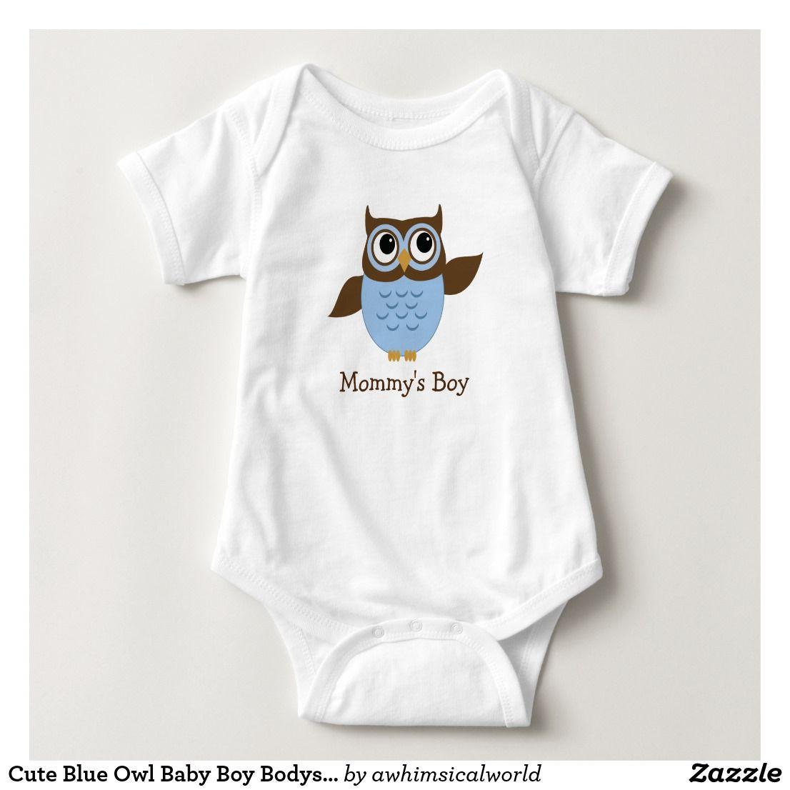 2a1e209ac Cute Blue Owl Baby Boy Bodysuit | Zazzle.com in 2019 | All Shop Sales